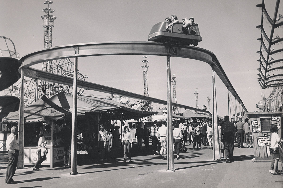 Ride and midway at the Manitoba Summer Fair during the 1960s