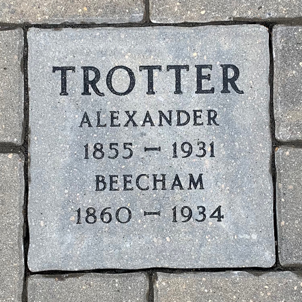 """Large personalized paving stone engraved with """"Trotter - Alexander - 1855-1931 - Beecham - 1860-1934"""""""