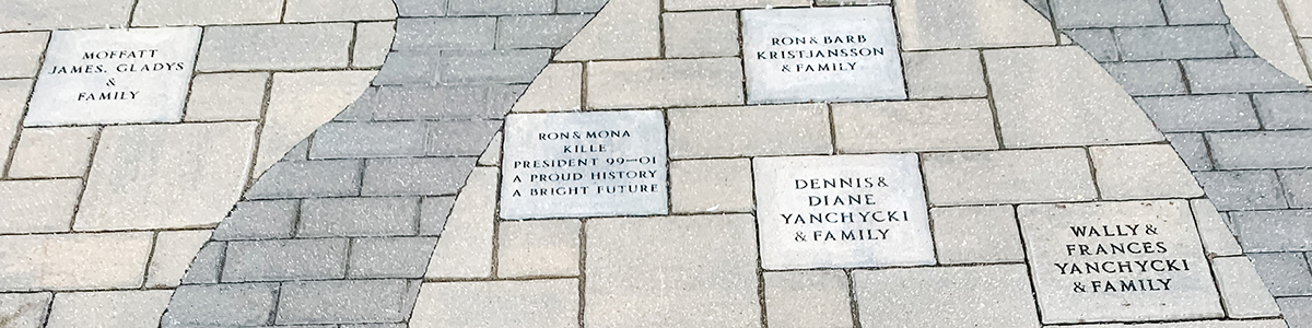 Wide shot showing a variety of engraved stones as part of the Your Name in Stone at the Dome campaign